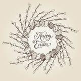 Pasen-kroon met eieren en wilgentakken Stock Fotografie