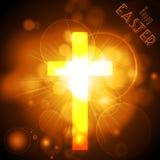 Pasen-Kruis op een gouden gloeiende achtergrond met tekst Royalty-vrije Stock Foto