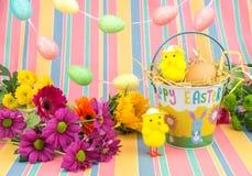 Pasen-kuikens, verse bloemen, eieren, en emmer De lentekleuren Stock Foto