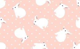 Pasen-leuke kunst, weinig konijntje, witte en digitaal weergegeven ambachtpatronen, roze achtergrondafbeeldingen, polka punt-vect stock illustratie