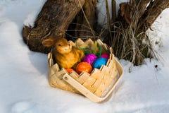 Pasen-mand in de sneeuw, prentbriefkaar, groetkaart Royalty-vrije Stock Afbeeldingen