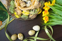 Pasen-mand, vakantiedecoratie, bloemen, pussy wilg en Eas royalty-vrije stock afbeelding