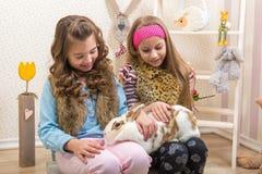 Pasen - Meisjes die het reusachtige, levende konijntje strijken stock foto