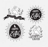 Pasen met het van letters voorzien, zonnestraal en konijn wordt geplaatst dat Vector illustratie Gelukkige Pasen-groetkaarten royalty-vrije illustratie
