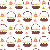 Pasen-Naadloos Patroon Als achtergrond met Vakantieeieren in Mandornament stock illustratie