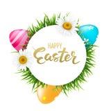 Pasen om banner achtergrondmalplaatje met de mooie kleurrijke lente bloeit, eieren en het handdrawn Van letters voorzien Royalty-vrije Stock Foto's