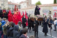 Pasen-optocht in Perpignan Stock Afbeeldingen