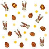 Pasen-patroon met eieren en konijnen op witte achtergrond royalty-vrije illustratie
