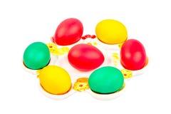 Pasen-plaat met eieren Stock Foto