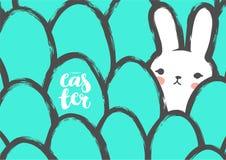 Pasen-Prentbriefkaar met Leuke Konijntje en Eieren Stock Afbeelding