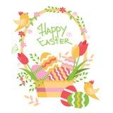 Pasen-prentbriefkaar met mand met eieren, bloemen, vogels, verba en tekst, vectorillustratie royalty-vrije illustratie