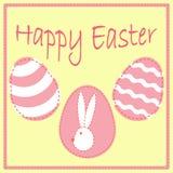 Pasen-prentbriefkaarmalplaatje met eieren en konijntjeshoofd Stock Afbeeldingen