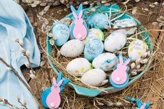 Pasen-pussy-Wilg en blauw paasei op houten achtergrond Ha stock fotografie