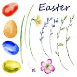 Pasen-reeks de lentebloemen, takjes, eieren Geïsoleerdj op witte achtergrond royalty-vrije illustratie