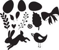 Pasen-reeks van decoratieve silhouetillustratie Gelukkig Pasen-malplaatje met het konijn en het kuiken van eierenbladeren Vector stock afbeeldingen