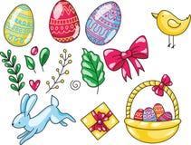 Pasen-reeks van hand getrokken beeldverhaalillustratie Gelukkig Pasen-malplaatje met het konijn en het kuiken van eierenbladeren  stock foto