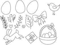Pasen-reeks van hand getrokken lijnillustratie Gelukkig Pasen-malplaatje met het konijn en het kuiken van eierenbladeren Vector royalty-vrije stock foto's