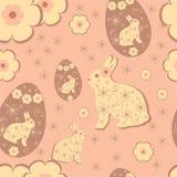 Pasen rubbit, eieren en bloem in het vector verpakken Vector Illustratie