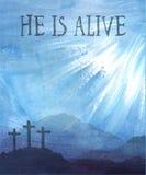 Pasen-scène met kruis De vectorillustratie van Jesus Christ Watercolor Royalty-vrije Stock Fotografie