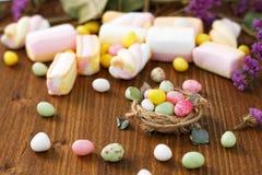 Pasen-suikergoed in het nest Stock Afbeelding