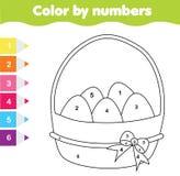 Pasen-tekeningsspel Kleur door aantallen, voor het drukken geschikt aantekenvel Kleurende pagina met Paaseieren Onderwijsspel voo royalty-vrije illustratie