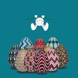 Pasen-thema met boven het kleurrijke ei Stock Afbeelding