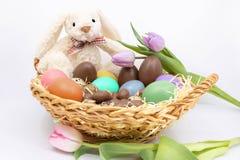 Pasen-vakantie 2019 - Paashaas en eieren stock fotografie