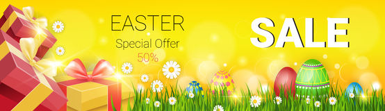 Pasen-Verkoop het Winkelen de Speciale aanbieding Verfraaide Kleurrijke Banner van de Eivakantie stock illustratie
