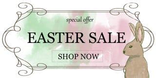 Pasen-verkoopbanner/advertentie/affiche met konijn vector illustratie