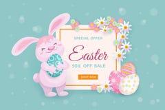 Pasen-verkoopbanner met konijntje, eieren en bloemen royalty-vrije illustratie