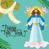 Pasen-verrijzenis godsdienstige achtergrond - toegenomen Lord Jesus Christ op wolk in de hemel vectorillustratie Heilige week Royalty-vrije Stock Afbeelding