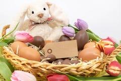 Pasen-Vieringen met Paashaas en Chocoladeeireis stock fotografie