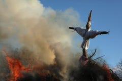 Pasen-vuur in Spreewald-Gebied, Lagere Lusatia, Duitsland Stock Foto's