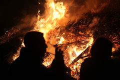 Pasen-vuur in Spreewald-Gebied, Lagere Lusatia, Duitsland Stock Foto