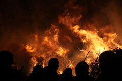 Pasen-vuur in Spreewald-Gebied, Lagere Lusatia, Duitsland Royalty-vrije Stock Fotografie