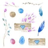 Pasen waterverf reeks Houten doos die met bloemen wordt gevuld, paaseieren Roze magnolia in een houten doos Veren, takjes, eieren vector illustratie