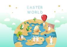 Pasen-wereld, eijacht, het ontdekken en avontuur, het leuke karakter van het konijnbeeldverhaal, begroetende van de affichevakant stock illustratie