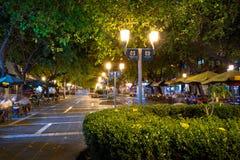 Paseo萨缅托步行街道在晚上- Mendoza,阿根廷 库存图片