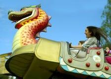Paseo asustadizo del roller coaster Fotografía de archivo libre de regalías
