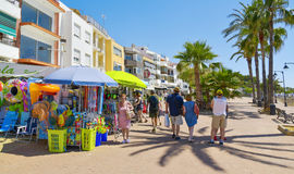 Paseo Blasco Ibanez in Vinaros, Spain. VINAROS, SPAIN - JUNE 12, 2017: People walking in the Paseo Blasco Ibanez promenade in Vinaros, Spain, the seaside stock image