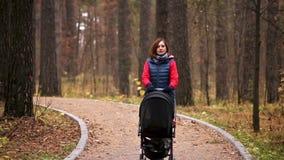Paseo con el niño en bosque del otoño metrajes
