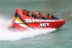 Paseo de alta velocidad del barco del jet - Queenstown NZ Imágenes de archivo libres de regalías