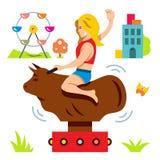 Paseo de Bull del vector Simulador del rodeo Ilustración de la historieta stock de ilustración