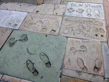 Paseo de Hollywood de las huellas de la fama Foto de archivo