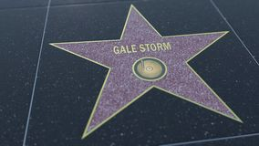 Paseo de Hollywood de la estrella de la fama con la inscripción de la TORMENTA del VENDAVAL Clip editorial almacen de video