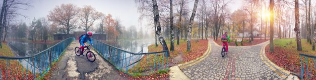 Paseo de la bici entre el otoño y el invierno Imagen de archivo