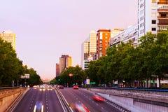 Paseo de la Castellana in dusk.  Madrid Stock Photography