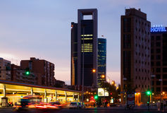 Paseo de la Castellana in dusk. Madrid, Spain Stock Photography