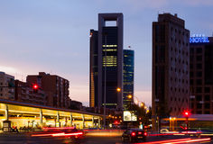 Paseo de la Castellana in dusk time. Madrid, Spain Stock Images
