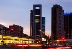 Paseo de la Castellana in dusk time. Madrid, Spain Stock Images